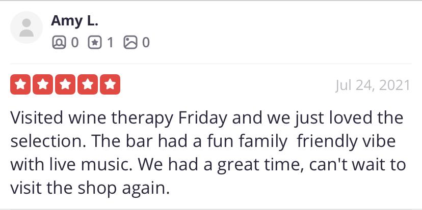 Wine Therapy Testimonial Amy